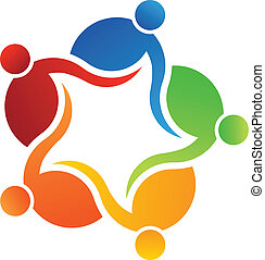 logo, vector, 5 mensen, team