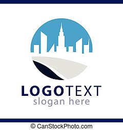 logo, vector, aanzicht, mal, stad