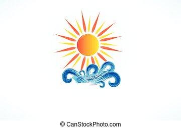 logo, vector, blauwe , zon, swirly, golven, strand