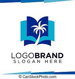 logo, vector, boompje, boek, mal