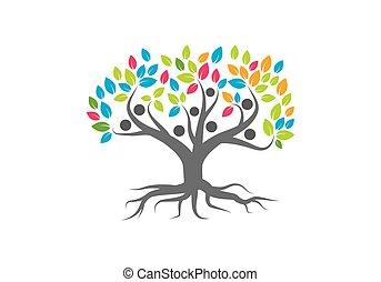 logo, vector, boompje, gezin