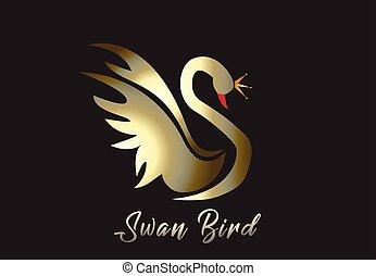 logo, vector, goud, zwaan