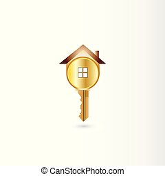 logo, vector, gouden sleutel, woning