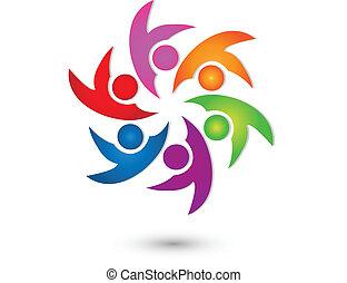 logo, vector, groep, vrolijke , teamwork