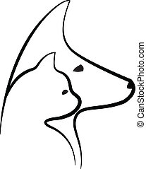 logo, vector, hoofden, dog, kat