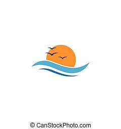 logo, vector, illustratie, zon