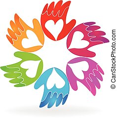 logo, vector, liefde, pictogram, handen