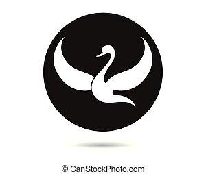 logo, vector, mal, zwaan, pictogram