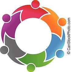 Logo vector six people business hug each other