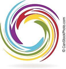logo, vector, spiraal, golven