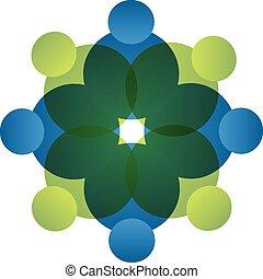 logo, vector, teamwork, mensen, pictogram