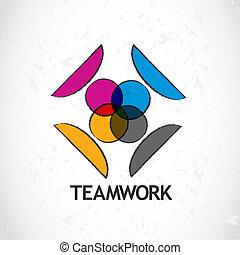 logo, vector, teamwork