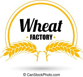 Logo vector wheat factory on white background. Orange circle