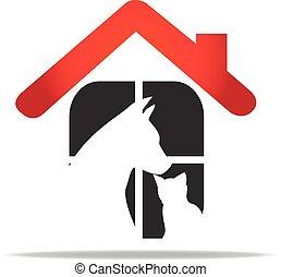 logo, veeartsenijkundig, huisdieren, care