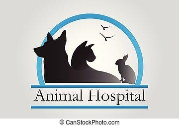 logo, veeartsenijkundig, huisdieren, zakelijk