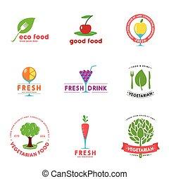 logo, vegetariër, koffiehuis, ontwerp, set