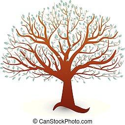 logo, vektor, økologi, træ