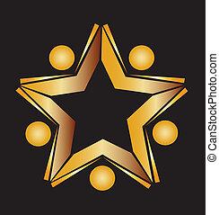 logo, vektor, böcker, guld, teamwork