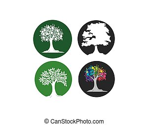 logo, vektor, baum, schablone, ikone