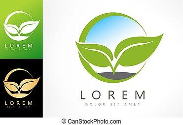 logo, vektor, blad