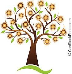 logo, vektor, design, solros, träd