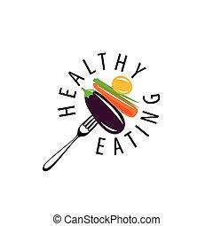 logo, vektor, essende, gesunde