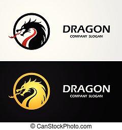 logo, vektor, feuerdrachen