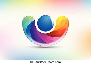 logo, vektor, folk, figur, regnbue