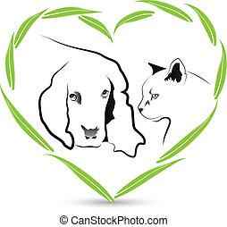 logo, vektor, freundschaft, hund, katz