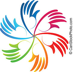 logo, vektor, gemeinschaftsarbeit, bunte, hände