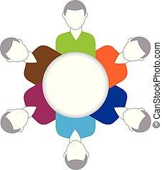 logo, vektor, gemeinschaftsarbeit, geschäftsmenschen