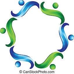 logo, vektor, gemeinschaftsarbeit, geschaeftswelt