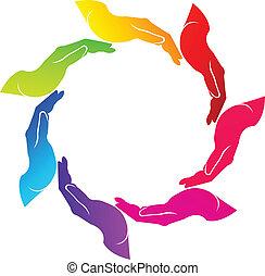 logo, vektor, gemeinschaftsarbeit, hände