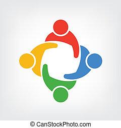 logo, vektor, grupp, folk