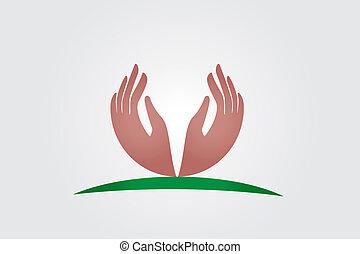 logo, vektor, håb, hænder