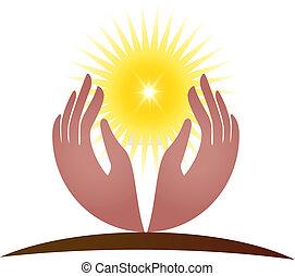 logo, vektor, håb, sollys, hænder