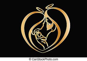 logo, vektor, helig, familj, guld