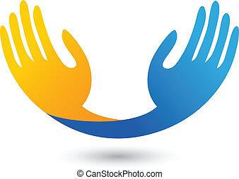 logo, vektor, hoffnungsvoll, hände