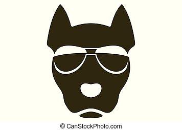 logo, vektor, hund, køle