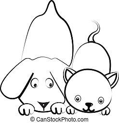 logo, vektor, hund, katz