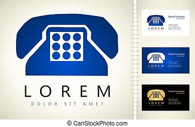 logo, vektor, illustration., telefon, symbol.