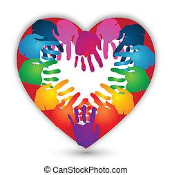 logo, vektor, kärlek, tillsammans, räcker