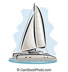 logo, vektor, katamaran, segeln
