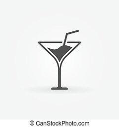 logo, vektor, oder, ikone, martini