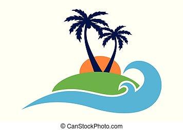 logo, vektor, paradis ö