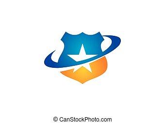 logo, vektor, stern, schutzschirm, schutz