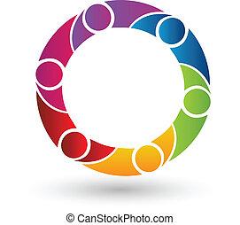 logo, vektor, teamwork, folk