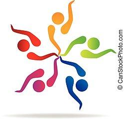 logo, vektor, teamwork, ikon