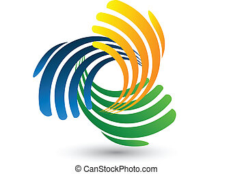 logo, vektor, tillsluta, räcker