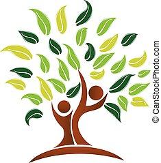 logo, vektor, træ